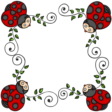 Decorative frame with leaves and ladybugs Vetores