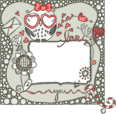 Love layout frame with owl.