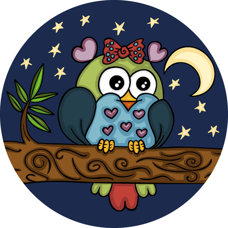 Lovely owl in night landscape
