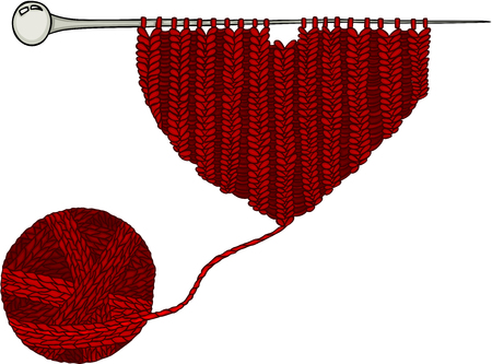 Red wool ball and knitting yarn