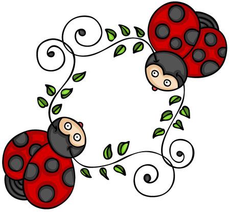 Two cute ladybugs