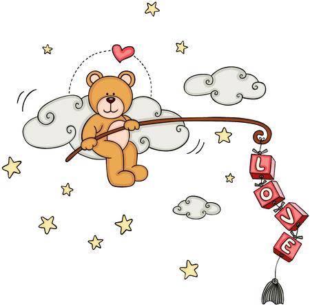 Cute teddy bear fishing for love