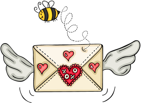 Love envelope with wings and bee