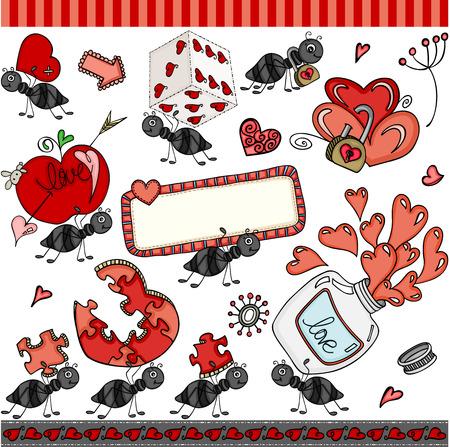 Ant love set digital elements icons. Иллюстрация