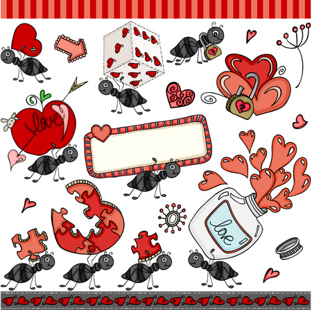 Ant love set digital elements icons. Vettoriali