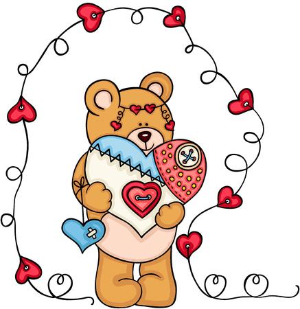 Teddy bear holding a handmade heart icon.