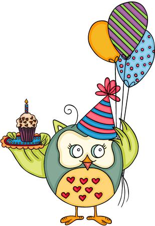 Cute owl happy birthday. Иллюстрация