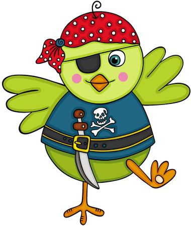 Pirate green bird vector illustration