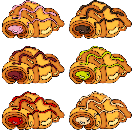 Set of croissants with different fillings vector illustration.