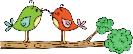 Couple of bird eating earthworm on branch Illustration
