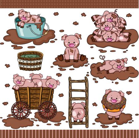 Cute pig in mud set digital elements