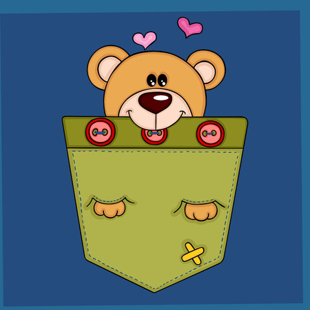 Cute teddy bear in the pocket on blue background illustration.