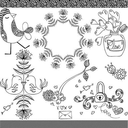 Hand drawn vintage ornamental set digital decorative elements. Ilustrace