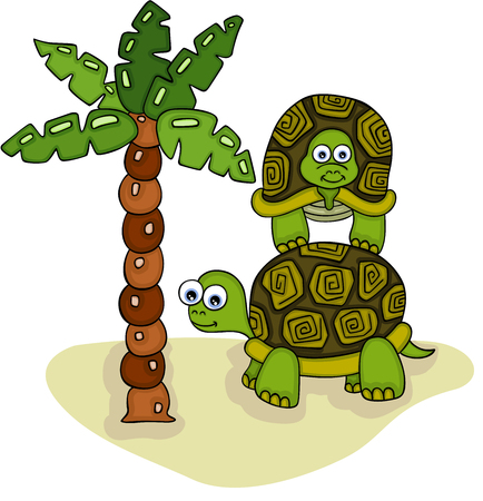 Two turtles with palm tree on tropical landscape