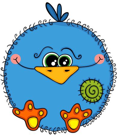 Cute blue bird vector illustration Illustration