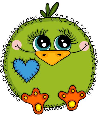 Cute green bird