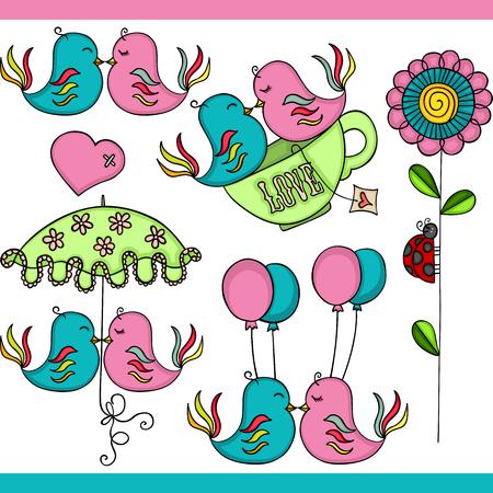 Couple birds in love set digital elements Ilustrace