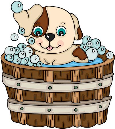 Cute dog taking a bath in wooden tub