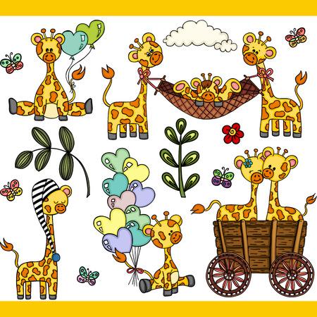 Cute giraffe set digital elements