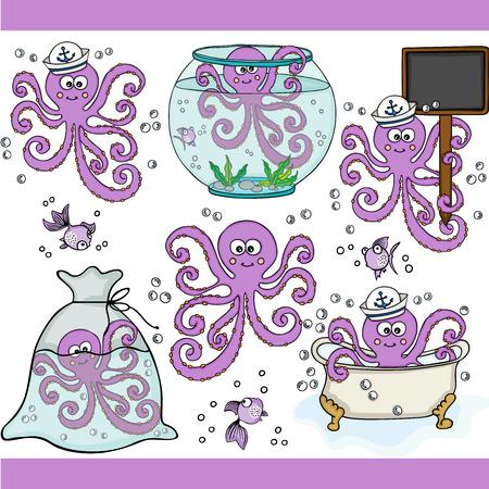 Cute purple octopus set digital elements