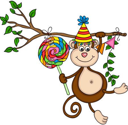 Monkey happy birthday with colorful lollipop