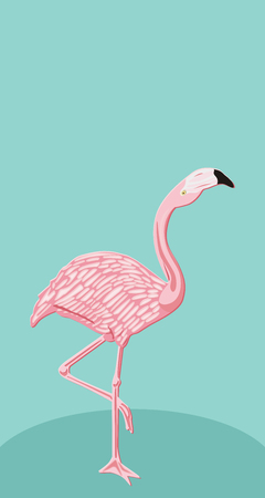 Pink flamingo on blue background Ilustracja