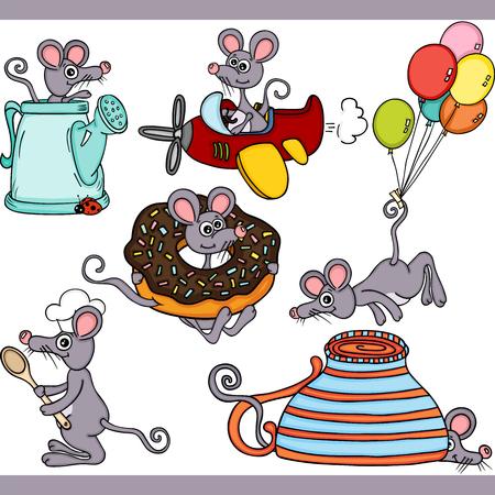 Cute mouse set digital elements Иллюстрация