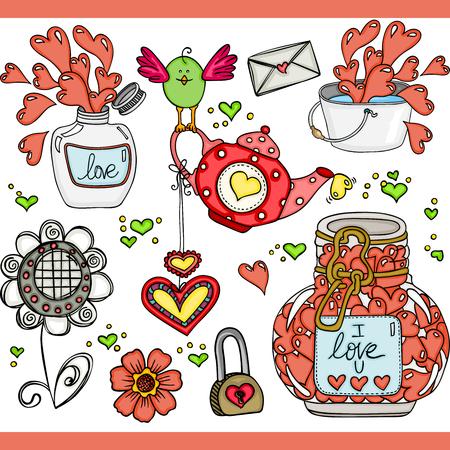 Love set digital elements Ilustrace