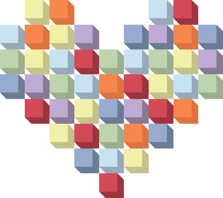 Heart made with cubes Vetores