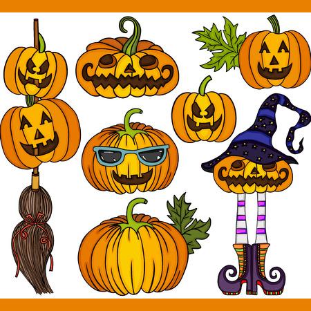 Halloween pumpkin set digital elements Vetores