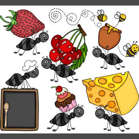 Cute ant set digital elements Иллюстрация