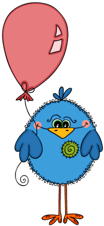 Cute blue bird holding balloon
