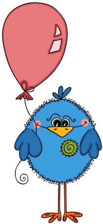 Cute blue bird holding balloon Illustration