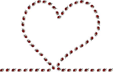 Heart made of ladybugs
