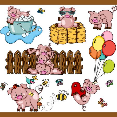 Cute pig set digital elements