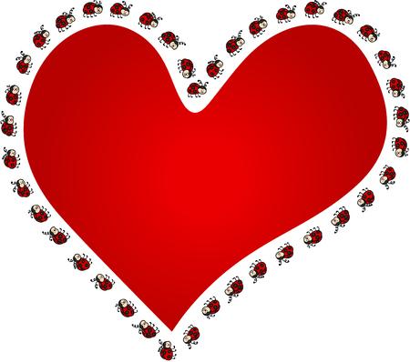 Ladybugs around red heart