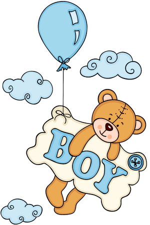 Baby boy teddy bear flying with balloon and a signboard