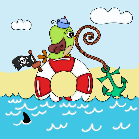 Cute sailor on sea background