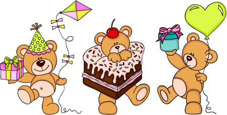 Cute three teddy bears happy birthday