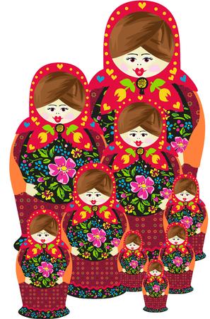 Traditional russian matryoshka doll family