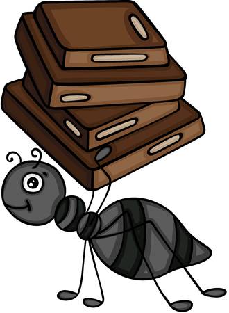 Ant carrying a chocolate squares