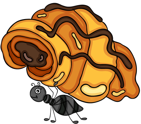 Ant carrying a croissant with chocolate