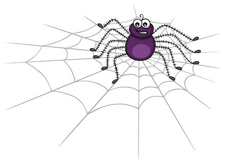 Cute spider on web Vetores