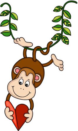 Hanging monkey holding a red heart Иллюстрация