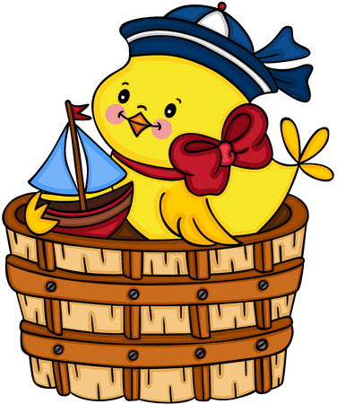 Sailor yellow chick playing little boat in wooden tub Zdjęcie Seryjne - 104378192