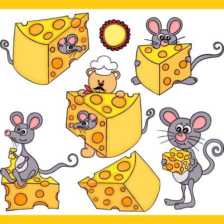 Cute mouse and cheese set digital elements