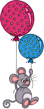 Little mouse flying with two balloons