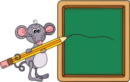 Cute mouse with school board and pencil