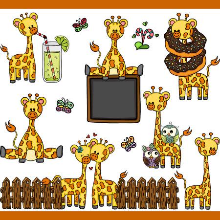 Giraffe set digital elements Ilustrace