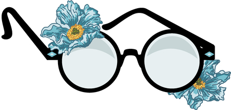 Round glasses with flowers Ilustrace